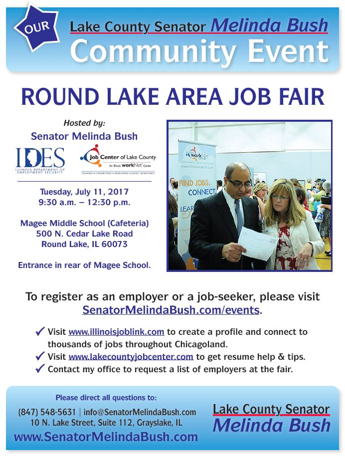 flyer for Senator Bush's Round Lake Job Fair